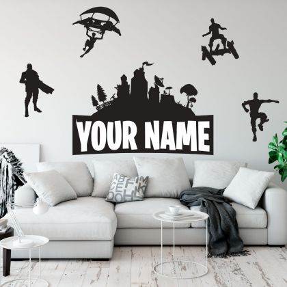 Fortnite Customised Name Wall Decor Vinyl Sticker for Gaming Room