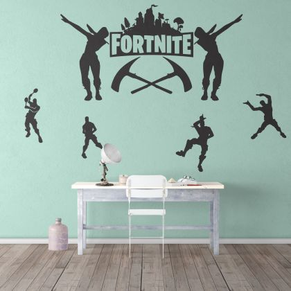 Fortnite Logo with Characters Wall Decor Vinyl Sticker for Gamers