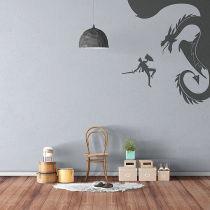 Dragon and Warrior Wall Decal for Children Room