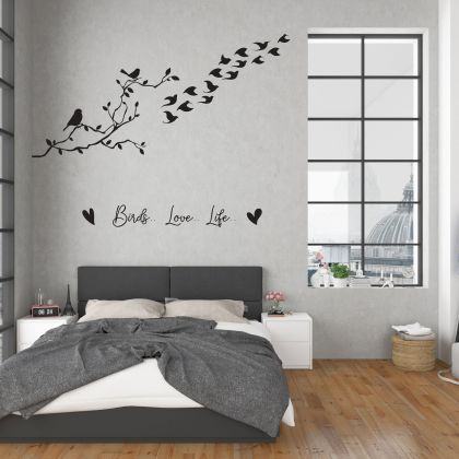 Tree with Birds Love Squirrel Wall Decal