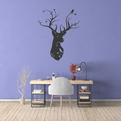 Mystical Forest Deer & Birds Wall Decal