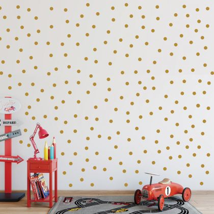 Metallic Gold Polka dot Wall Decals Pattern Vinyl Wall Sticker