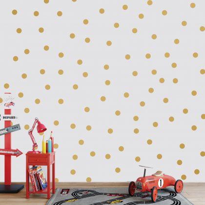 Metallic Gold Giant Polka dot Wall Decals Pattern Vinyl Wall Sticker