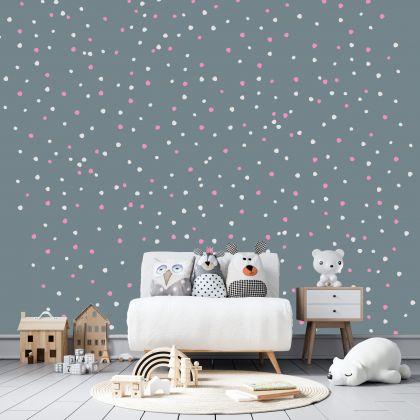 Hand Drawn Mixed Colour Polka dot Wall Decals Pattern Vinyl Wall Wall Sticker