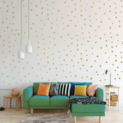 Hand Drawn Metallic Gold Polka dot Wall Decals Pattern Vinyl Wall Sticker