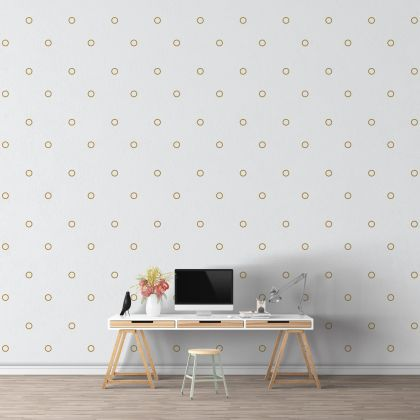 Metallic Gold Outlined Polka dot Wall Decals Pattern Vinyl Wall Sticker