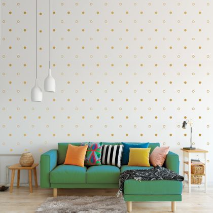 Metallic Gold Dots and Outlined Polka dot Wall Decals Pattern Vinyl Wall Sticker