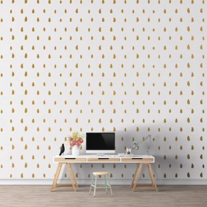 Hand Drawn Metallic Gold Polka dot Wall Decals Pattern Vinyl Wall Stickers