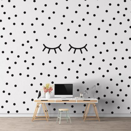 Sleepy Eyelash and Polka dot Wall Decals Pattern Vinyl Wall Wall Sticker