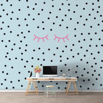 Sleepy Eyelash and Polka dot Wall Decals Pattern Vinyl Wall Wall Art