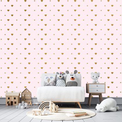 Mixed Size Metallic Gold Heart Wall Decals Pattern Vinyl Wall Wall Art