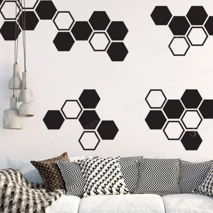 Honeycomb Wall Decals for 2 colour honeycomb