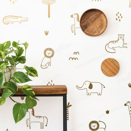 Metallic Gold Jungle Animal wall decal - set of 25