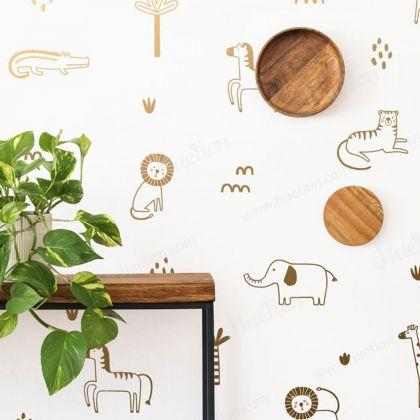 Metallic Gold Jungle Animal wall decal - set of 25