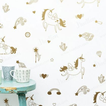 Metallic Gold Magical Unicorn for wall decal