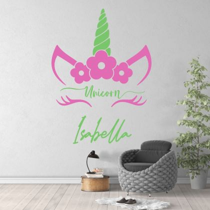 Unicorn custom girl name wall sticker