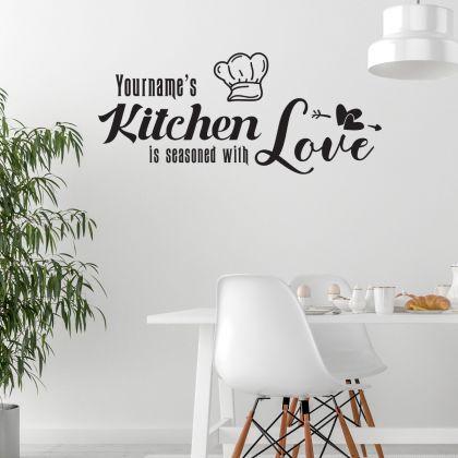 Custom Name Kitchen Love Wall Sticker - Kitchen Quote Wall Decal with Custom Name - Kitchen Quote Wall Decor for Home - Custom name kitchen Decal