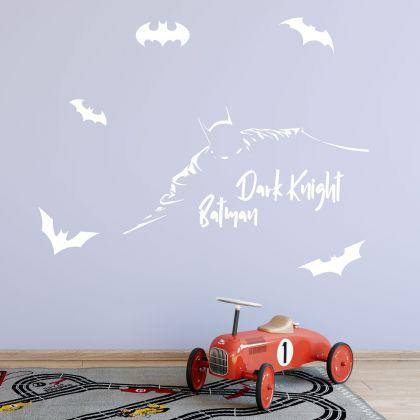 Dark Knight Batman Themed Wall Decal with 6 batman Logo for Kids
