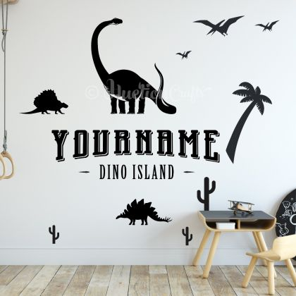 Personalized Name Dino Island Dinosaur Wall Stickers for Nursery and Kids Room