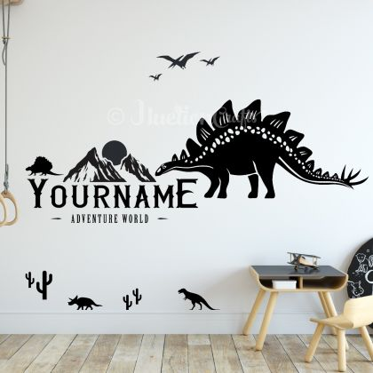 Personalized Name Dinosaur Wall Stickers for Nursery and Kids Room