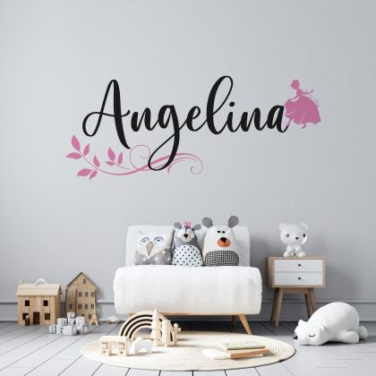 Disney themed Personalized Girls Name Wall Stickers for Children Room