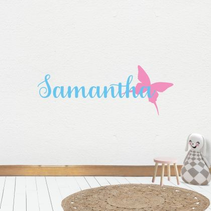 Butterfly themed Customized Girls Name Wall Stickers for Children Room
