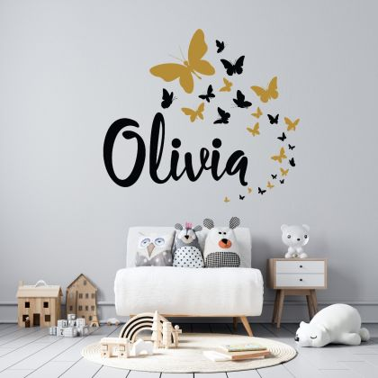 Butterfly themed Personalized Girls Name Wall Stickers for Children Room