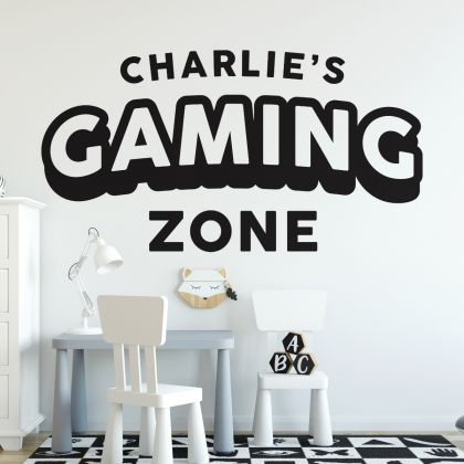 Gamer wall decal Gaming Zone Customized For Kids Bedroom Vinyl Wall Art Decals