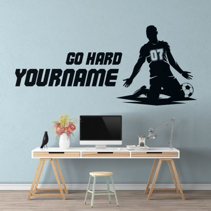 Personalised Name & Jersey Number Wall Decal Stickers Decals Football Wall Stickers Kids Room Home Decor