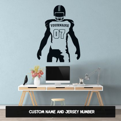 American Football Personalised Write your Name & Jersey Number Wall Decal Stickers