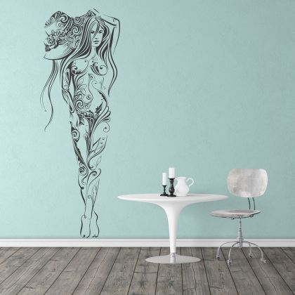 Artistic Sexy Girl with Hat Wall Decal