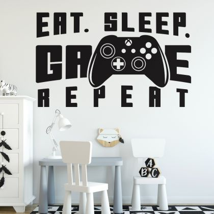 Gamer wall decal Eat Sleep Game wall decal Controller video game wall decals For Kids room