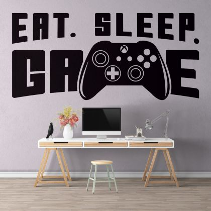 Gamer Wall Decor Controller Wall Decal eat sleep game decor video game wall stickers For Kids Bedroom Decals