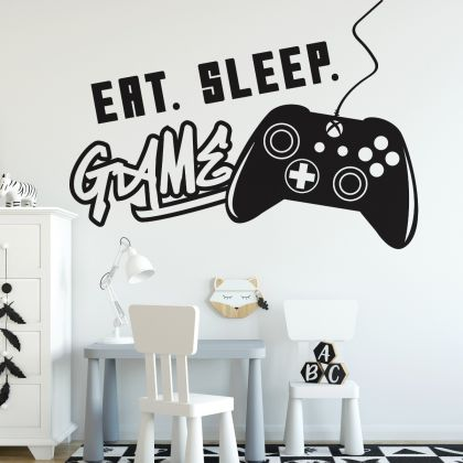 Gamer wall decal Gaming Zone Eat Sleep Game Controller video game wall decals For Kids Bedroom Wall Art