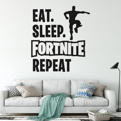 Eat Sleep Repeat Gaming Room Vinyl Decal Wall Stickers for Boys Gaming Room