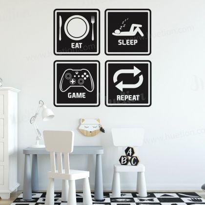 Game Zone Gamer Wall Decal Eat Sleep Game Wall Art