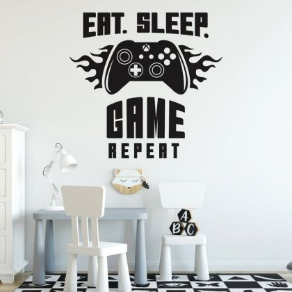 Gamer wall decal Eat Sleep Game wall decal For Kids Bedroom