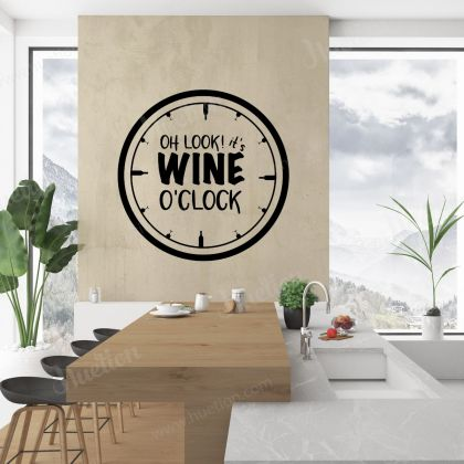 Wine 'o' Clock Kitchen Wall Stickers for Kitchen Quote Wall Decals