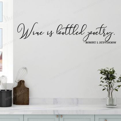 Wine is Bottles Poetry for Kitchen Wall Stickers