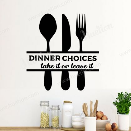 Dinner Choices Wall Art for Kitchen wall decor vinyl decal