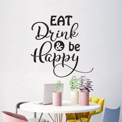 Eat Drink & Be Happy Wall Stickers for Kitchen Quote Wall Decals