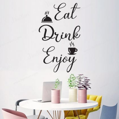 Eat Drink Enjoy Wall Stickers for Kitchen Quote Wall Decals