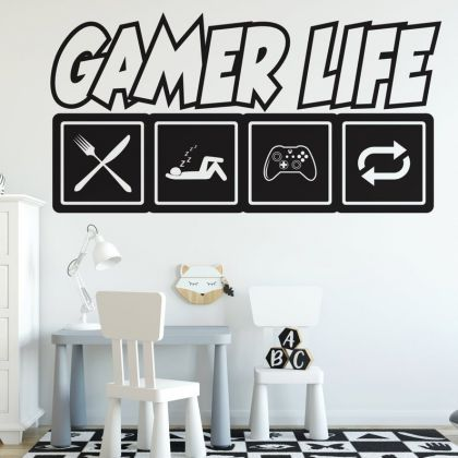 Gamer Life wall decal Eat Sleep Game Controller video game wall decals For Kids Bedroom