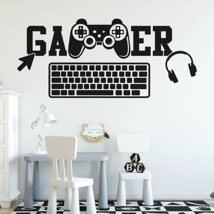 Gamer wall decal PS Gaming Zone Eat Sleep Game wall decals For Kids Bedroom
