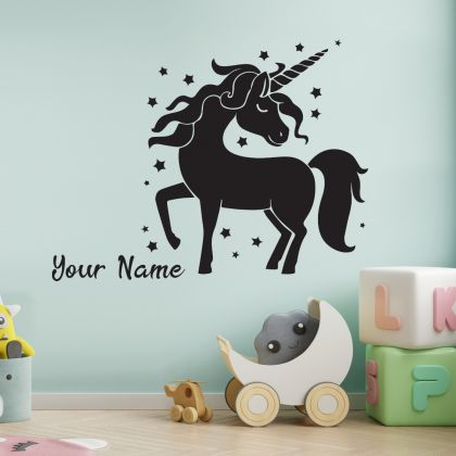 Unicorn custom girl name sticker for unicorn girl room wall art sticker unicorn wall decal