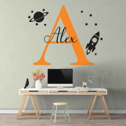 Space Wall Decal Nursery for Outer Space Decor Boy Room Decor Space Themed Room Planets Wall Decal