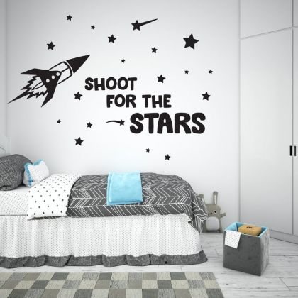 Shoot the Stars Space Wall Decal for Outer Space Decor Boy Room Decor