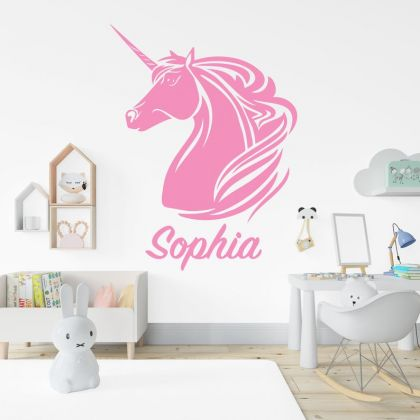 Custom Name Unicorn wall decal for Unicorn girl room wall art sticker