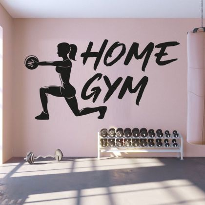 Home gym man cave boys girls business window weights sign new Room Wall Sticker Decal