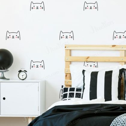 Cat Face wall decal for Kids Room Wall stickers